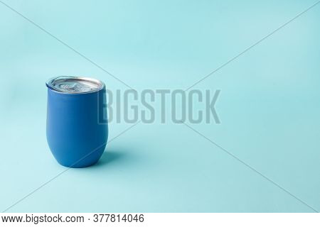 Reusable Eco Friendly Metal Cup For Take Away Coffee On Blue Background. Space For Text. Flat Lay, T