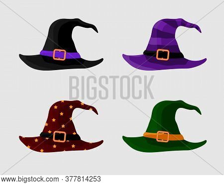 Colorful Witch And Wizards Hats With Belt. Halloween Costume. Set Of Vector Illustration In Flat Sty