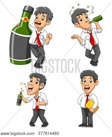 Drunk Businessman With Green Alcohol Bottle Of Illustration