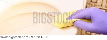Hand In Protective Glove Clean Bathroom. White Toilet. Professional Sanitary Washing. House Cleaning