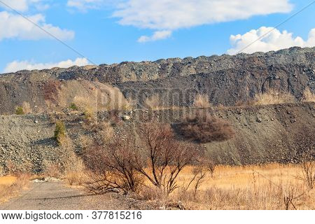 View Of Slag Heaps Of Iron Ore Quarry. Mining Industry
