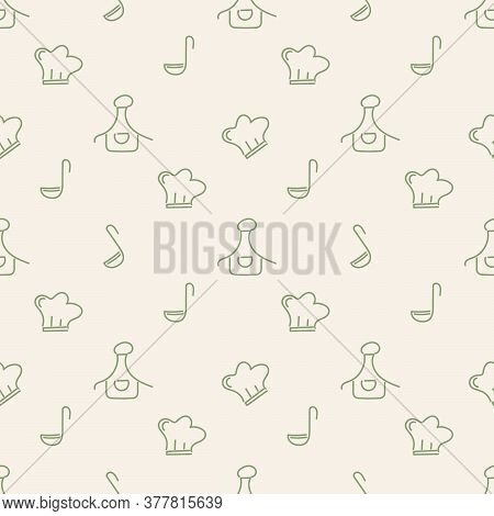 Cooking Seamless Background With Kitchen Accessories. Hand-drawn Chefs Hat, Apron, Ladle. Doodle Sty