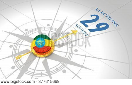 Voting Concept. Ethiopia Elections. 3d Rendering. Abstract Compass Points To The Elections Date