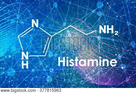 Chemical Formula Of Histamine. Connected Lines With Dots Background.