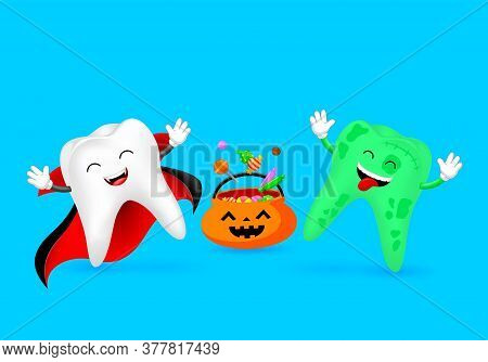 Cartoon Spooky Tooth With Candies. Trick Or Treat, Halloween Concept. Illustration Isolated On Blue
