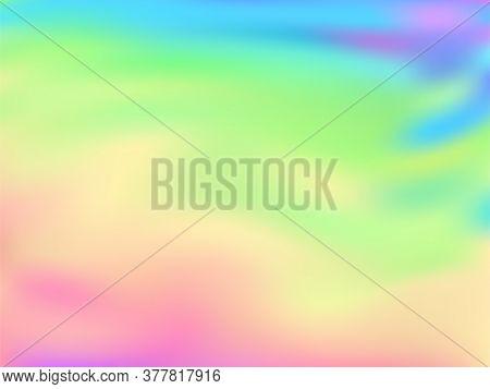 Holographic Gradient Neon Vector Illustration. Glowing Pastel Rainbow Unicorn Background. Liquid Col