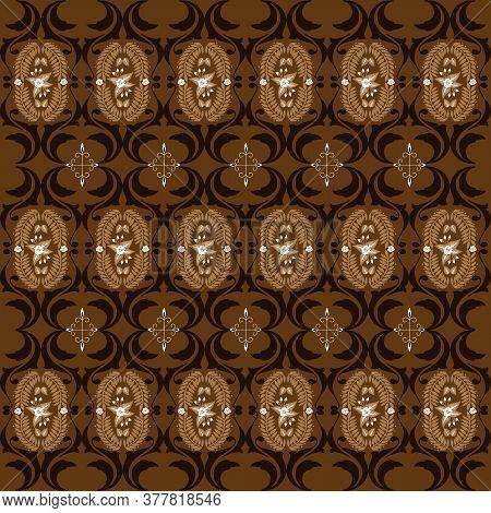 Modern Motifs On Jogja Batik Design With Simple Dark Brown Color Design.