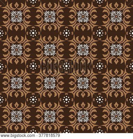 Simple Flower Motifs On Solo Batik Design With White Brown Color Design.
