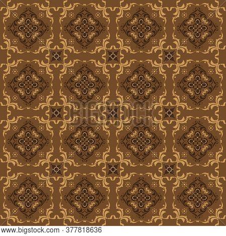 Elegant Flower Motifs On Kawung Batik Design With Modern Golden Color Design.