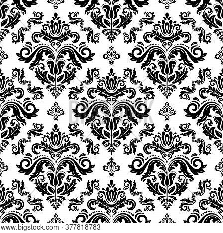 Classic Seamless Vector Black And White Pattern. Damask Orient Ornament. Classic Vintage Background.