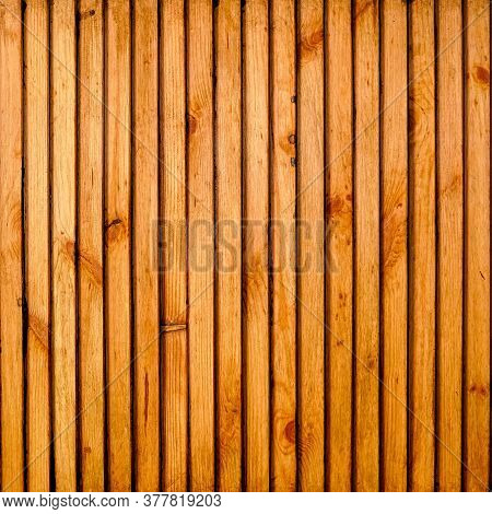 Wooden Background Made Of Thin Slats Or Plank. Wooden Plank Background