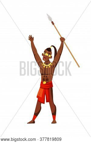 Tribal Native Man Raising Spear On White. Warlike Male Character Shouting Loudly. African Inhabitant