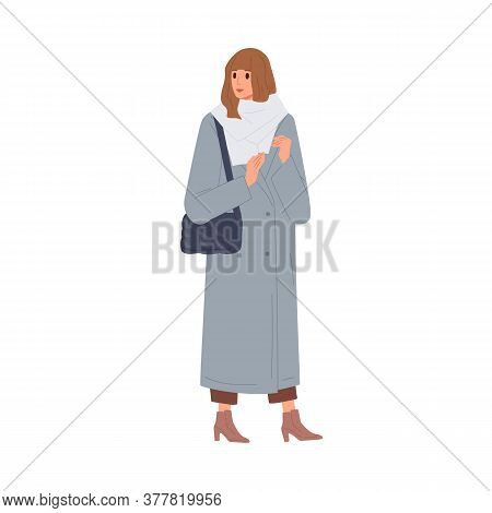 Fashion Woman In Warm Scarf And Coat Vector Flat Illustration. Female With Handbag Demonstrate Winte