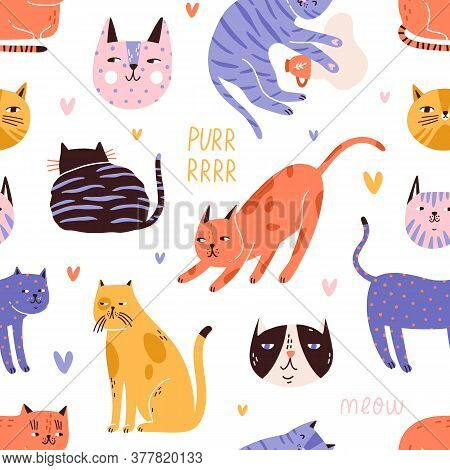 Backdrop With Cute, Funny Cat Head, Muzzle, Face, Hearts And Purr, Meow Text. Seamless Repeatable Pa