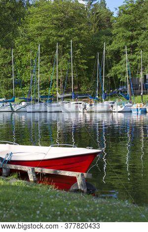 Masuria, Poland - June 24, 2020: A Typical Yacht Marina On The Masurian Lakes, Yachts Moored At The