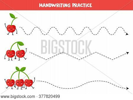 Tracing Lines With Cute Kawaii Cherries. Game For Kids.