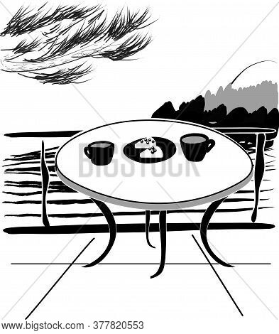 Balcony Overlooking The Lake Or Sea And Mountains. Morning Breakfast While Traveling. Ink Sketch, Mo