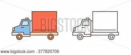 Logistics Truck, Van Or Lorry Icon. Commercial Vehicle With Diesel Engine, Automobile Shipment. Deli