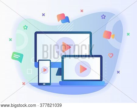 Video Icon On Television Computer Laptop Smartphone Screen Concept Online Multiple Device With Flat