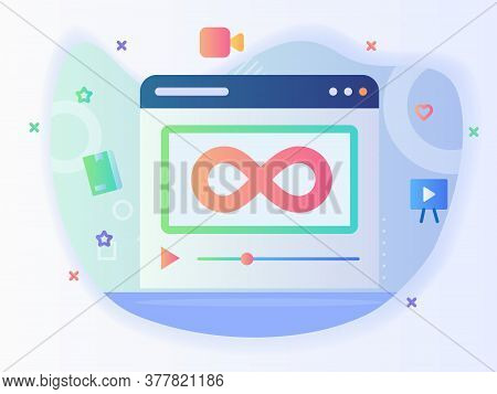 Unlimited Icon View Video Course On Computer With Flat Style .
