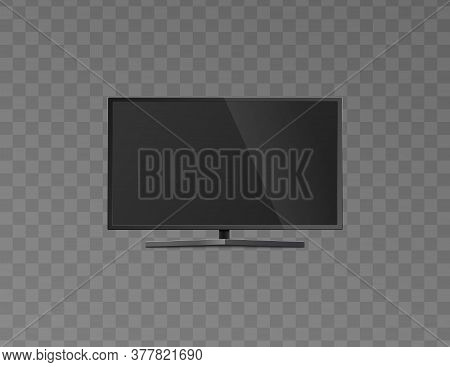 Flat Blank Black Screen Of Lcd Tv Realistic Mockup Vector Illustration Isolated.