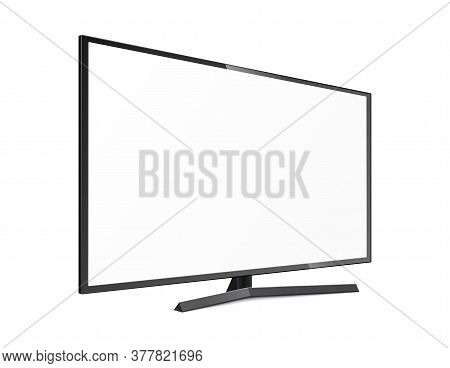 Template White Lcd Tv Monitor Or Led Screen, 3d Vector Illustration Isolated.