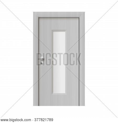Realistic White Interior Door With Matte Narrow Rectangle Glass Window