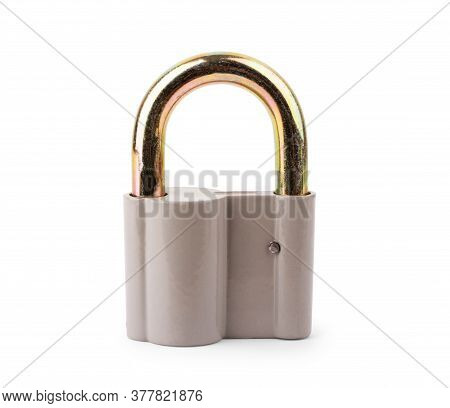 Lock On White Background Closeup, Chain, Stop, Concept, Metallic, Chains, Padlock,