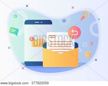 Notification New Message On Smartphone Screen Reply Email Concept Email Service With Flat Style.