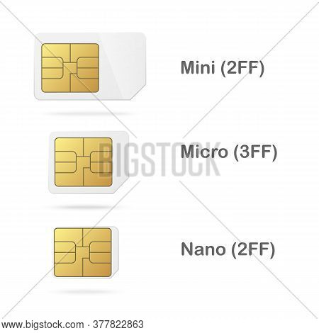 Phone Microchip And Cards Templates Set, Realistic Vector Illustration Isolated.