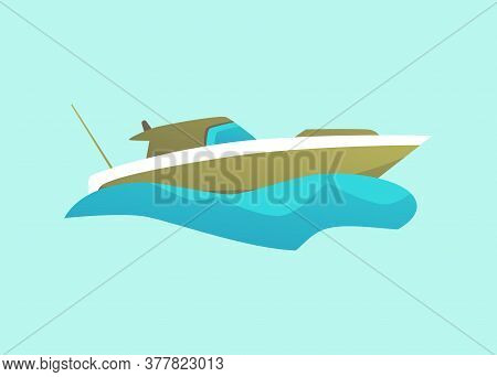 Green Isolated Motorboat Riding Blue Water Wave, Modern Speed Boat