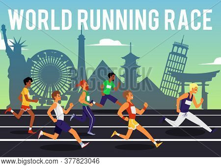 World Running Race Poster With International Sprinter Runner Competition
