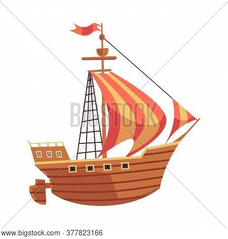 Old Wooden Sea Ship With Sails Or Sailboat Flat Vector Illustration Isolated.
