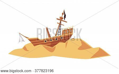 Old Wrecked Pirate Sea Ship Or Sailboat Flat Vector Illustration Isolated.