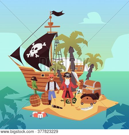 Pirate Ship On Treasure Island - Cartoon Pirates With Gold And Weapons