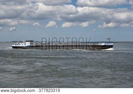 Terneuzen, The Netherlands, July 12, 2020, Jebritt Is An Inland Motor Tanker Sailing Under The Flag