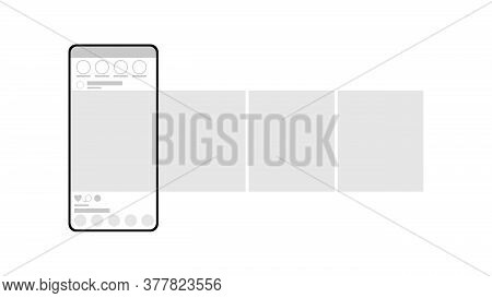 Smartphone Mockup On White Background. Carousel Interface Post On Social Network. Minimal Design. St
