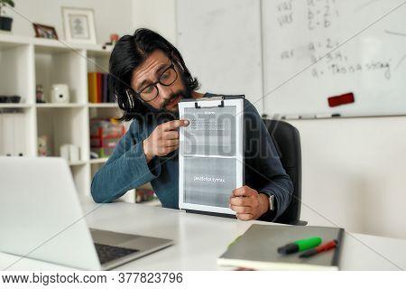 Teaching Programming Languages. Young Male Teacher Explaining New Theme While Teaching Java Script O