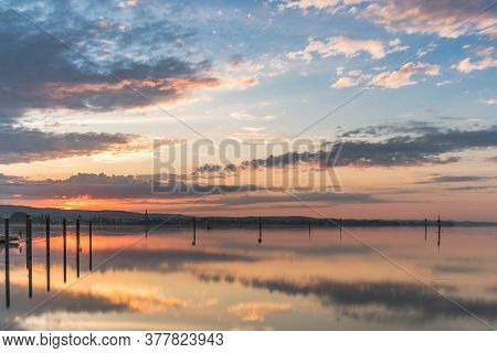Sunrise At Lake Constance With Radolfzell And Mettnau Peninsula In Background, Baden-wuerttemberg, G