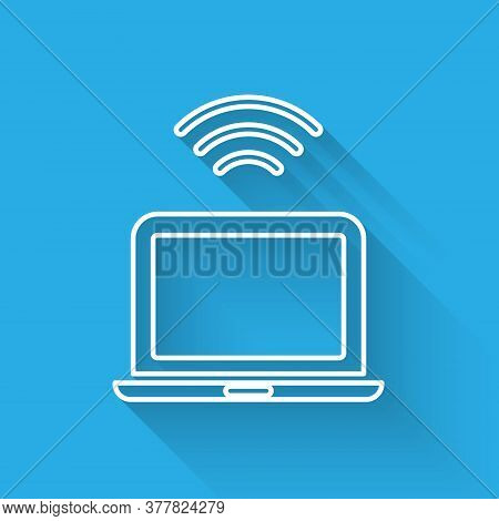 White Line Wireless Laptop Icon Isolated With Long Shadow. Internet Of Things Concept With Wireless
