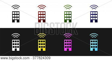 Set Smart Home With Wireless Icon Isolated On Black And White Background. Remote Control. Internet O