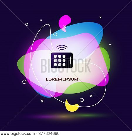 Black Wireless Tablet Icon Isolated On Blue Background. Internet Of Things Concept With Wireless Con