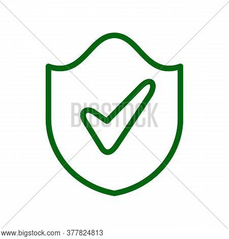 Shield With Check Mark Vector Sketch Icon Isolated On Background. Hand Drawn Shield With Check Mark