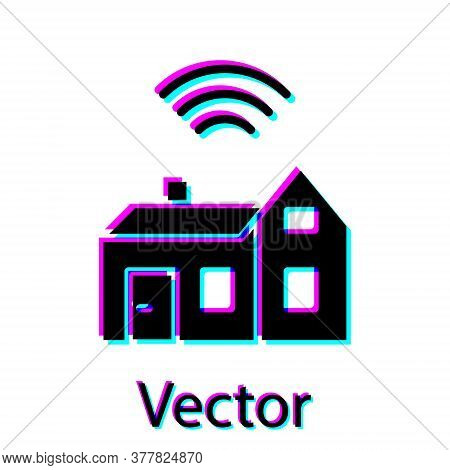 Black Smart Home With Wireless Icon Isolated On White Background. Remote Control. Internet Of Things