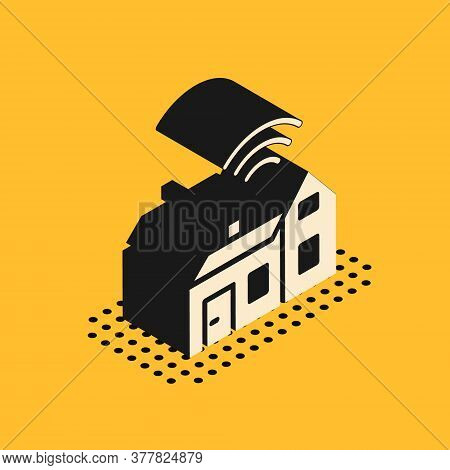 Isometric Smart Home With Wireless Icon Isolated On Yellow Background. Remote Control. Internet Of T