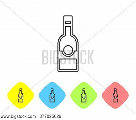 Grey Line Glass Bottle Of Vodka Icon Isolated On White Background. Set Icons In Color Rhombus Button