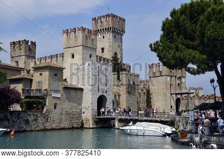 Sirmione / Garda Lake, Italy: June 24, 2011: Scaligero Castle (rocca Scaligera) Medieval Fortress On