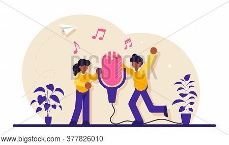Sound Record Concept. Group Of People Standing Near Microphone And Sing A Song. Modern Flat Illustra