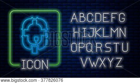 Glowing Neon Inflatable Boat Icon Isolated On Brick Wall Background. Rafting Boat. Water Sports, Ext