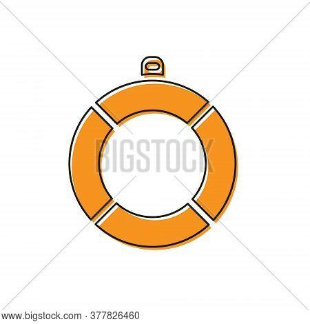 Orange Lifebuoy Icon Isolated On White Background. Lifebelt Symbol. Vector